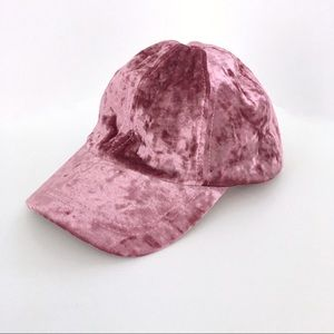Pink Crushed Velvet Baseball Hat, NWT